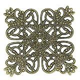 30 filigrane Deko-Ornamente, Verzierungen, Quadrat, 5,6 x 5,6 cm bronze