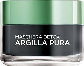 L'Oréal Paris Maschera per il Viso Argilla Pura Detox con Carbone, Detossina e Illumina la Pelle, 50 ml