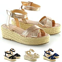 bf1a43239a3 ESSEX GLAM Womens Cross Strap Platform Wedge Heel Sandals Lad .