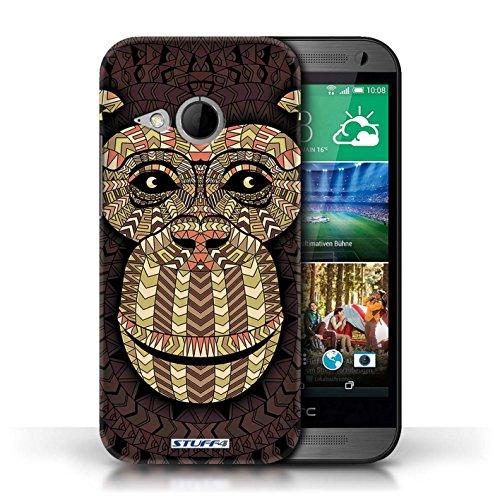 Coque de Stuff4 / Coque pour HTC One/1 Mini 2 / éléphant-Orange Design / Motif Animaux Aztec Collection Singe-Sépia