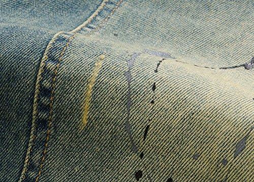 Herren Beiläufig Ärmellos Retro Denim Weste Jeansjacke Distressed Jeans Denim Weste Blau