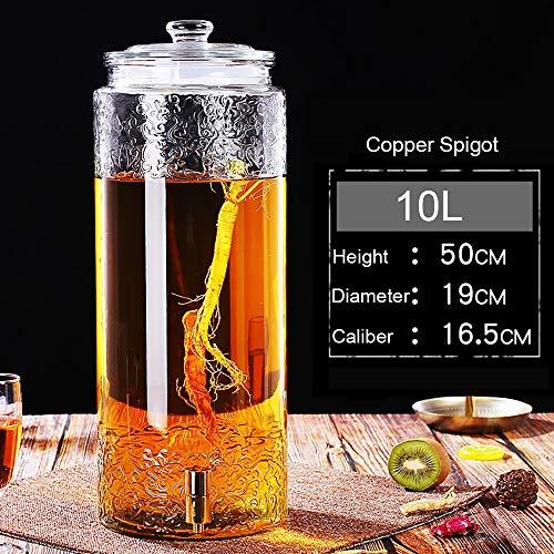 YAXIAO Dispensador de Bebidas Jarro de Vino Mason Jar Dispensador de Bebidas de Vidrio con Grifo de Vidrio Cubierta 5L / 7.5L / 10L Dispensador de Bebidas (Color : 10L, Size : Copper Spigot)