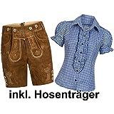 Gaudi-Leathers Damen Set Trachten Lederhose Shorts hellbraun kurz + Träger + Trachtenbluse Ronda kariert versch. Farben, Marke
