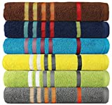 #8: Casa Copenhagen Exotic 475 GSM Cotton 6 Pcs Spa Towel Set - Multi Colour