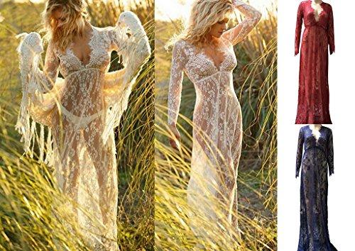 Smile YKK Sexy V-Ausschnitt Maxikleid Coctaikleid Abendkleid Strandkleid Mit Lace Spize Long Sleeve Rot