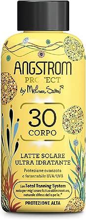 Angstrom Protect Latte Solare Ultra Idratante, Protezione Solare 30 con Azione Nutriente, Migliora la Naturale Abbronzatura, Indicata per Pelli Sensibili, 200 ml