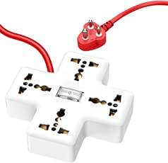 APPUCOCO 4 Sockets, 1 Switch, 10 amp, 6 Feet Wire Extension Board/Extension Cord for Home - White