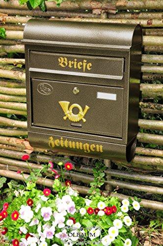 Cassetta delle lettere, grande XXL, qualità premium, zincato, polverizzato M acciaio oro in ottone oro giornale scomparto giornale rotolo cassetta postale, Acciaio, RUNDDACH, RUNDDACH