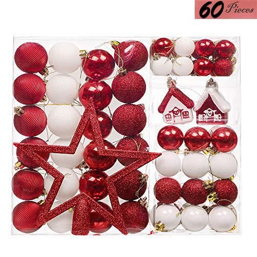 Valery Madelyn 60 TLG 3-20cm Kunststoff Weihnachtsbaumschmuck Set zur Weihnachtsbaumdekoration mit Rot Weiß Christbaumkugeln, Weihnachtsbaumspitze und passende Aufhänger MEHRWEG Verpackung