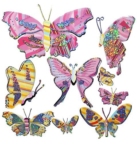 Unbekannt 9 TLG. Set 3-D ! Wandtattoo / Fensterbild - Tier Schmetterling mit Glitter - pink gelb - Folie selbstklebend - Wandsticker Sticker Aufkleber