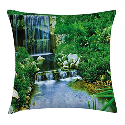 Pillow Cushion Cover, Waterfall Flowing down The Rocks Foliage Cascade in Forest Valley Image, Decorative Square Accent Pillow Case, 18 X18 Inches, Fern Green Light Blue ()