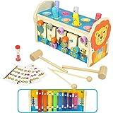 Symiu Banc à Marteler Jouet Enfant Montessori 3 in 1 Instrument Musique Enfant Xylophone Jeu LabyrintheJeux Éducatifs Cadeau