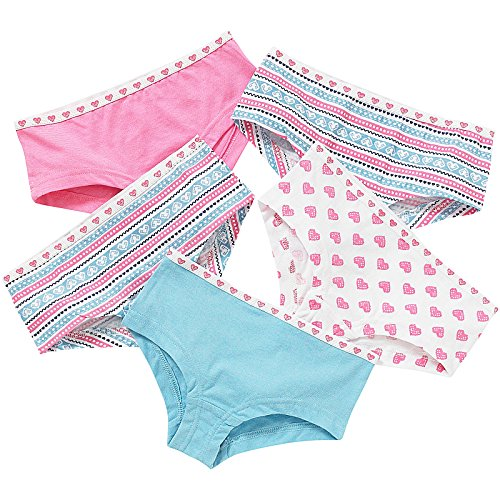 Just Essentials Girls Back To School 5 Pack Cotton Hearts Print Hipster Briefs - Blue-Pink - 11/12 Years