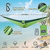 NatureFun Tragbare 275*140cm Ultra-Leichte 100% Fallschirm-Nylon Reise Camping Hängematte für Backpacker, Camping, Jagen, Strand, Hof - 2