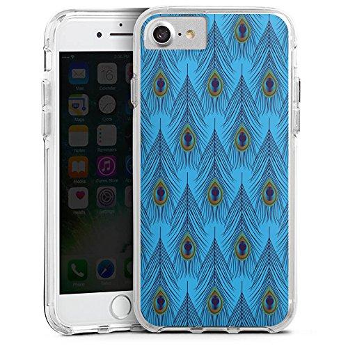 Apple iPhone 6s Bumper Hülle Bumper Case Glitzer Hülle Straußenfeder Muster Pattern Bumper Case transparent