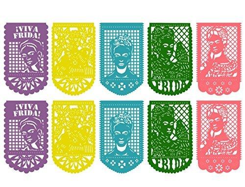 Frida Kahlo Großes Mexikanisches Pappel-Banner aus Kunststoff - 10 Panels - mexikanische Party-Dekorationen - mehrfarbig Purple, Pink, Blue, Yellow, Green (Nicht-religiösen Shirt)