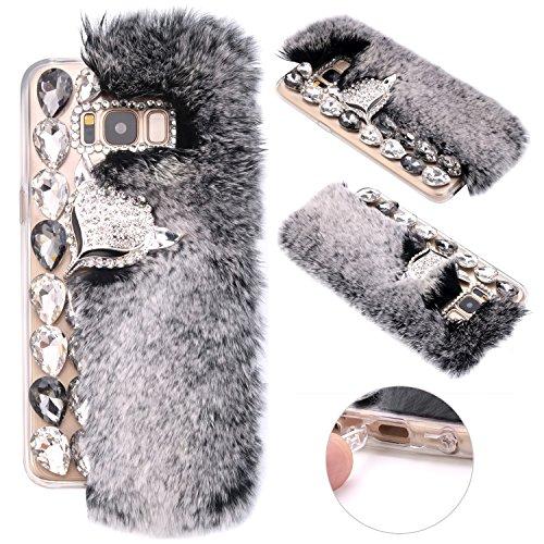 Galaxy S8 Plus Handyhülle Glitzer, ZXK CO Luxus 3D Bling Strass Diamant Fuchs Hülle Case für Samsung Galaxy S8 Plus Crystal Case Schutzhülle mit Weich Warm Faux Wolle Flaumig Villi Pelz-Grau