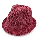 Roffatide Uomini Donne Cappello Pescatore Cappelli di Paglia Estate All'aperto Cappello da Sole Vino Rosso