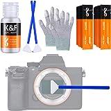 K&F Concept Kit de Nettoyage Photo 16 Écouvillons de 24mm pour Capteur APS Full Frame Gants Anti-Statique 20ml Liquide Nettoy