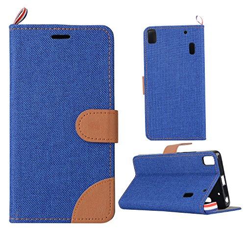 G5-laufwerke (Lenovo A7000 Hülle,Lenovo A7000 Case,Cozy Hut PU Leder Wallet Case Schutzhülle für Lenovo A7000 Flip Tasche Handyhüll Ledertasche Hüll Cover Standfunktion Karte Slot(Cowboy in blau) - blau)