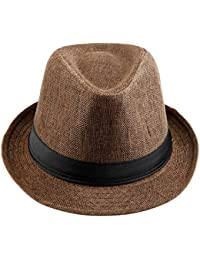 KYEYGWO Panama Fedora Hats for Men Woman, Braid Straw Short Brim Jazz Cap  Trilby Hat e04bfbd3937