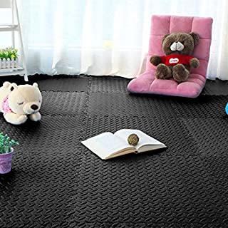 FDS 48 SQ FT Interlocking EVA Foam Floor Mats Exercise Gym Play Mat (Black)