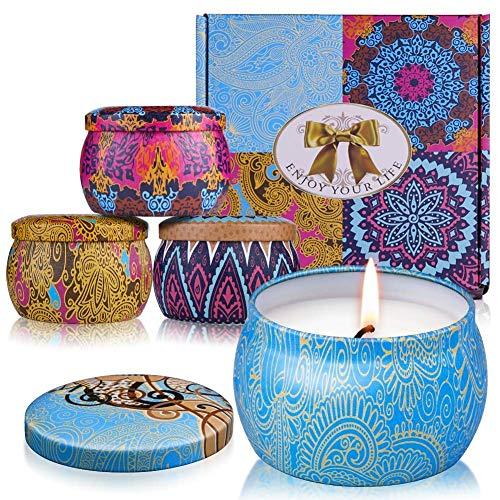 Duftkerze ARINO Aroma Kerzen Naturwach in Dose 4er Deco Kerzen Geschenk Set - Natürliches Aromen von Rose Zitrone Labendel Mittelmeer für Entspannung Diffuser und Aromatherapie