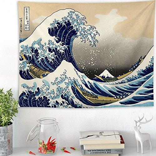 QGUATAN Tapiz Kanagawa Surf Hang Estilo japonés Sala de Estar Tapiz de Onda Pintura Decorativa Kanagawa Surf Trapo de Fondo Tela, Ondas Ukiyo-e, 200x148cm