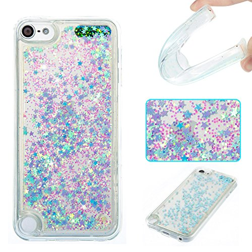 DAMONDY iPod Touch 6 Fall, iPod Touch 5 Fall, 3D Cute Bling Liquid Floating Treibsand Diamant Wasser Fließende Ultra Clear Soft TPU Case für Apple iPod Touch 5 6. Nur Sliver Blue Star - Bling 5 Ipod Den Für 3d-cases
