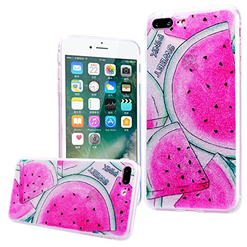 WE LOVE CASE Coque iPhone 7 Plus Souple Gel Coque iPhone 7 Plus Silicone Paillette Glitter Brillant Motif Fine Coque Girly Resistante Coque de Protection Bumper Coque Apple iPhone 7 Plus rose