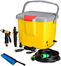 QualimateHigh Pressure Portable Automatic Car Washer, Water Spray Gun | with All Accessories, 16 Liter Tank (Multi-Color)(car Washing accessorieshigh Pressure washerportable car Washer)