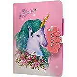 Unicornio Cuaderno,Cuaderno de niñas Diario con Candado de Corazón,Cuaderno de Arcoíris Cuaderno de Bricolaje Cuaderno de Dia