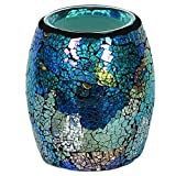 Turquoise Lustre Crackle Mosaic Electric Wax Melt Burner 14cm