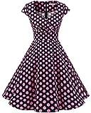 bbonlinedress 1950er Vintage Retro Cocktailkleid Rockabilly V-Ausschnitt Faltenrock Black Pink BDot S