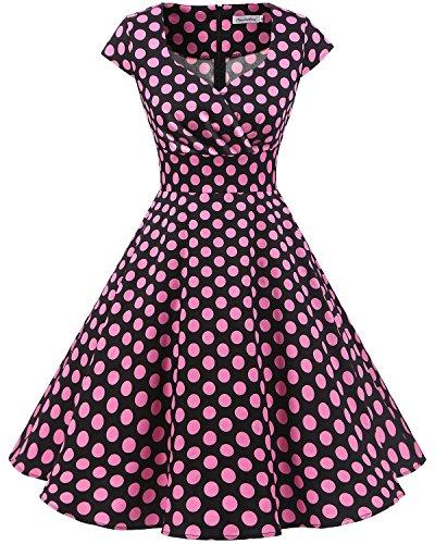 bbonlinedress 1950er Vintage Retro Cocktailkleid Rockabilly V-Ausschnitt Faltenrock Black Pink BDot 3XL