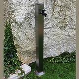 Quadratische Edelstahl Wasserzapfsäule Tavolozza | incl. Wasserhahn & Edelstahlschrauben zur Bodenbefestigung | Höhe 90cm