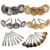 wildlead–Juego de latón cepillo de alambre de acero pulido Ruedas Kit completo para Dremel Rotary herramientas nuevo
