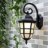 Luces de pared exterior impermeable antigua villa Garden Courtyard wall en la galería apliques de luz de la puerta del patio Emery negro + Edison inventó la bombilla, arena negra + Bombilla Edison