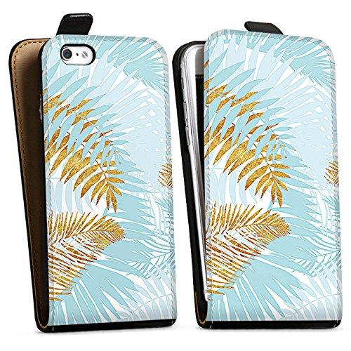 Apple iPhone X Silikon Hülle Case Schutzhülle Palmen Palmenblätter Sommer Downflip Tasche schwarz