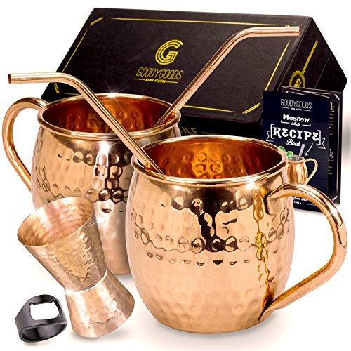 (Moscow Mule Kupfer Tassen,: machen jedes Getränk Geschmack Viel Besser. 100% reines Kupfer Set inkl. 2 Tassen, 2 Trinkhalme, Rezeptbuch, reinigungshinweise & Reinigungstuch.)
