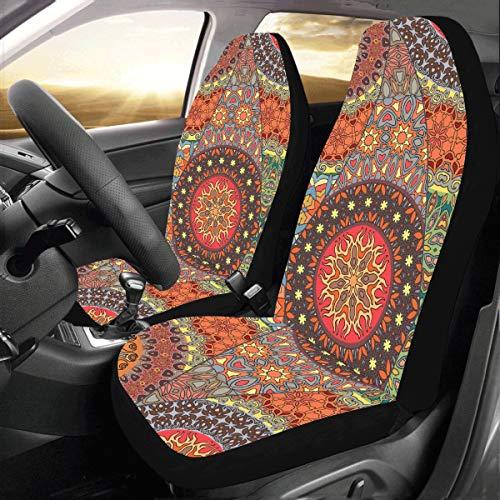 Mandala Tribal Style Benutzerdefinierte Universal Fit Auto Autositzbezüge Protector für Frauen Automobil Jeep Truck SUV Fahrzeug Full Set Zubehör für Erwachsene Baby Satz von 2 ()