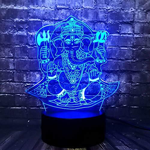 Fengdp Buddha 3D LED USB Nachtlicht Visuelle 7 Farben Illusion RGB Tisch Schreibtischlampe Geburtstagsgeschenk Urlaub Indien Lord Elephant Props