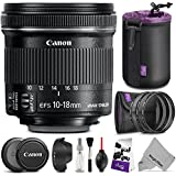 Canon EF-S 10-18mm F/4.5-5.6 Is STM Wide Angle Lens W/Essential Photo Bundle - Includes: Altura Photo UV-CPL-ND4, Dedicated Lens Hood, Neoprene Lens Pouch, Camera Cleaning Set