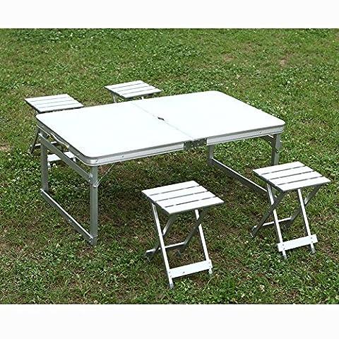 MIAO Outdoor Portable einfache Aluminium-Legierung Picknick Falten Tische und Stühle einschließlich Tisch * 1 und Hocker * 4 , white