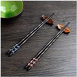2 Paar Set Essstäbchen Japanische Natur Chopsticks aus umweltfreundlichem hölzernen in edler Schatulle Geschenkbox (Pflaumenblüte)