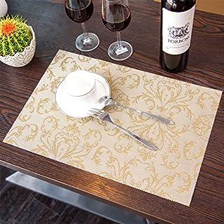 Tisch Tischset PVC Dinner Weave Vinyl Matten Set von 6 waschbar Anti-Rutsch Hitze Isolierung 30 * 45cm Golden