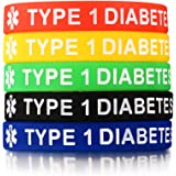 PJ JEWELRY 5 Silicone gomma tipo 1 diabete medico avviso ID Wristband braccialetto di emergenza, 5 colori