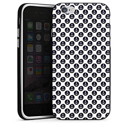 Apple iPhone X Silikon Hülle Case Schutzhülle Anker Muster Anchor Matrose Silikon Case schwarz / weiß