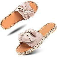Sandale Femme Plate Espadrille Mules Ete Pantoufle Chausson Noeud à Bout Ouvert Slippers Plage Tongs Confort Casual Noir…