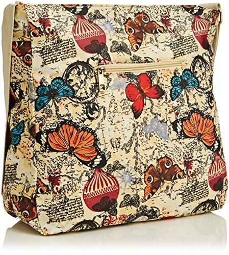 SwankySwansAtlantis Butterfly Map Print Messenger - Borsa a tracolla donna Beige (Beige)